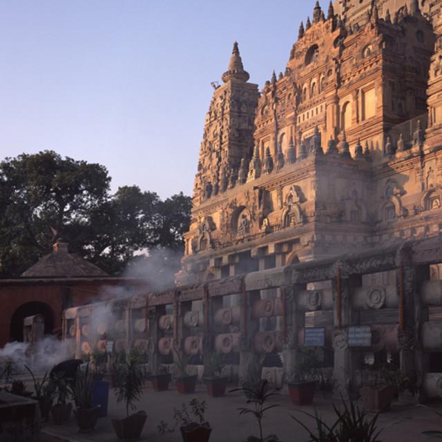 """Smoke offering at Maha Bodhi Temple, Bodhigaya, India"" stock image"