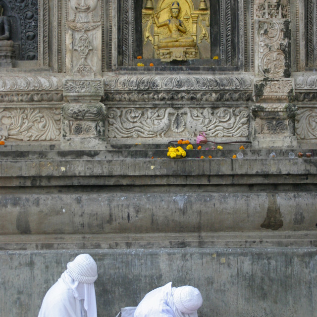 """Two nuns in white robes, Bodhgaya, India"" stock image"