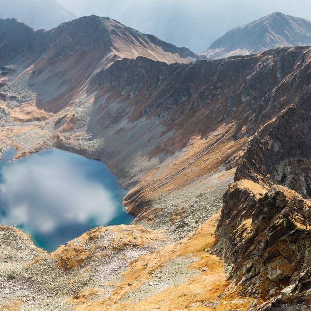 """Emerald color Zadni Lake surrounded by Tatra mountains, Poland"" stock image"
