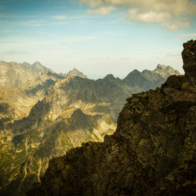 """High Tatra Mountains, aerial view from Rysy peak"" stock image"