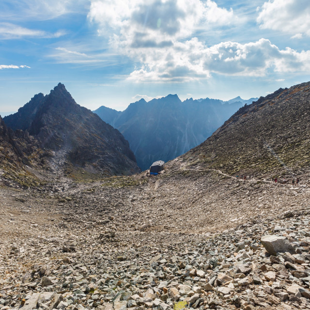 """""""View of """"Chata pod Rysami"""" shelter from path to the Rysy peak"""" stock image"""