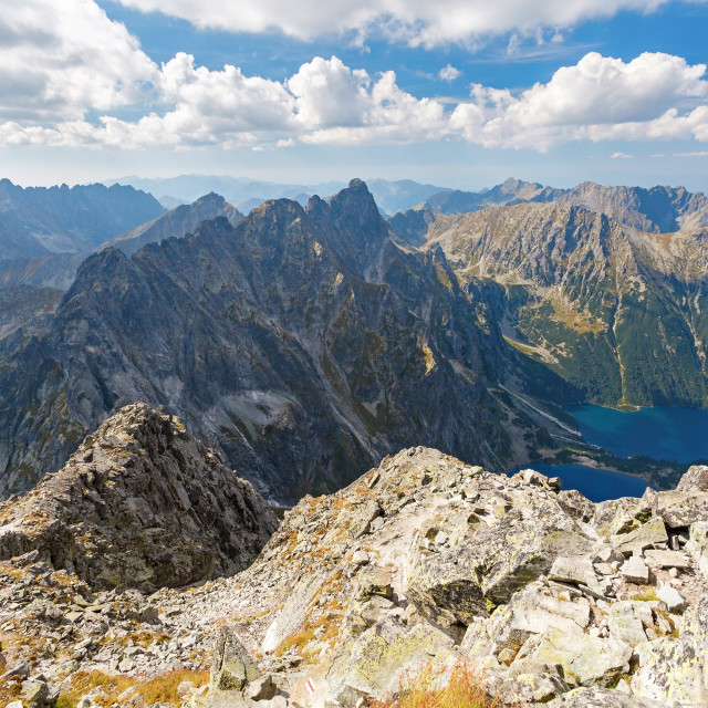 """""""High Tatra Mountains, aerial view from Rysy peak"""" stock image"""