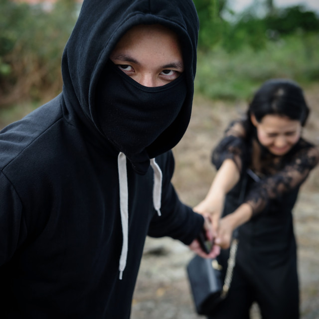 """""""thief steal smartphone from victim at meadow"""" stock image"""