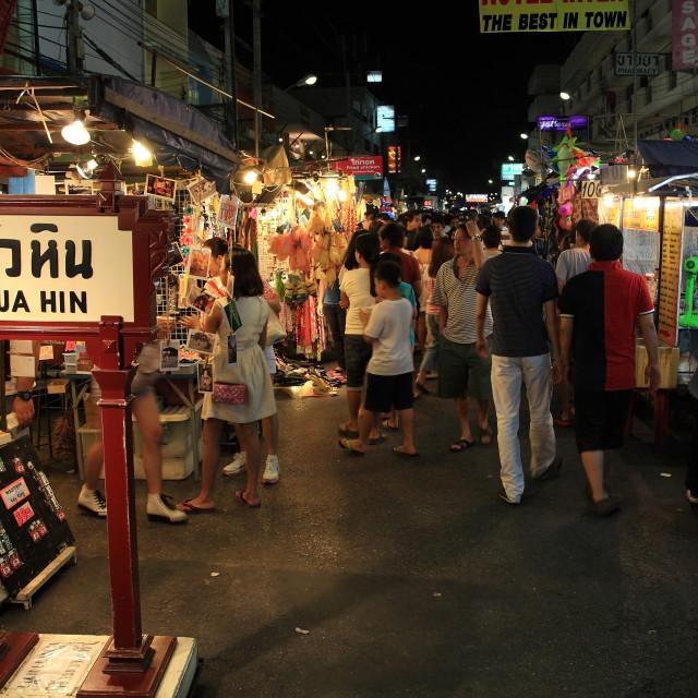 """Tourists visit Hua Hin night market."" stock image"