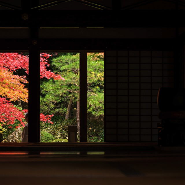 """Tourists enjoy fall colors at Nanzen-ji, Kyoto"" stock image"