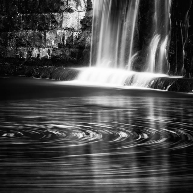 """Waterfall of Orvenco creek BW"" stock image"