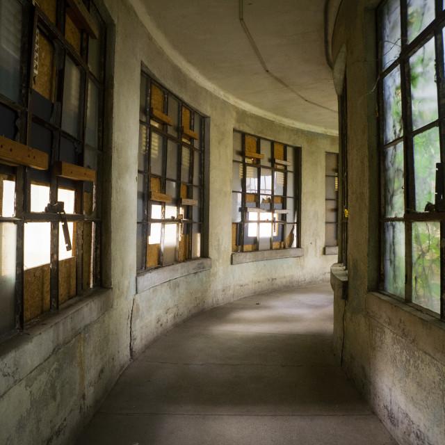 """""""Ellis Island Curved Hallway"""" stock image"""