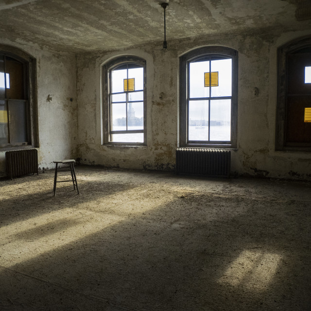 """Ellis Island Room With A View"" stock image"