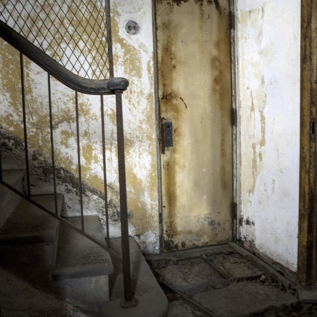 """Ellis Island Stairwell"" stock image"