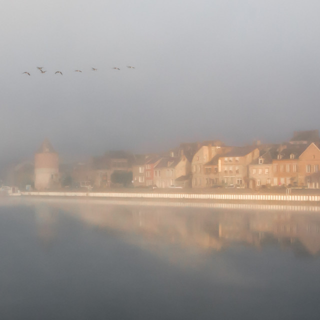 """River Meuse at dawn"" stock image"