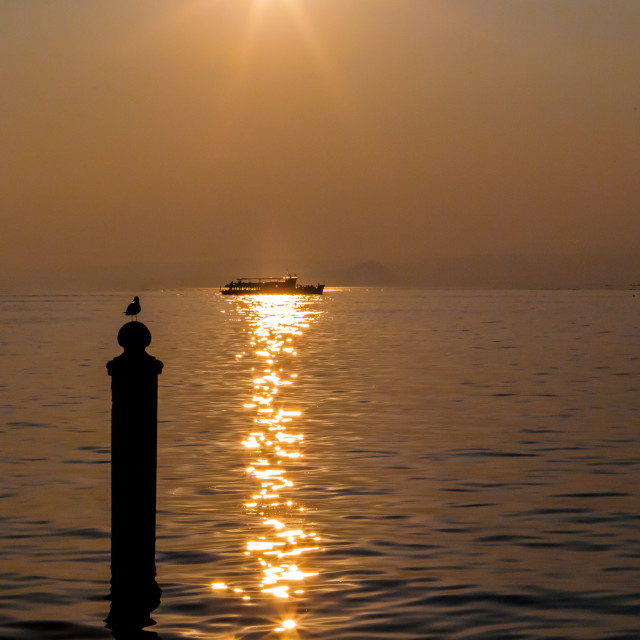 """Sunset over Lake Garda"" stock image"