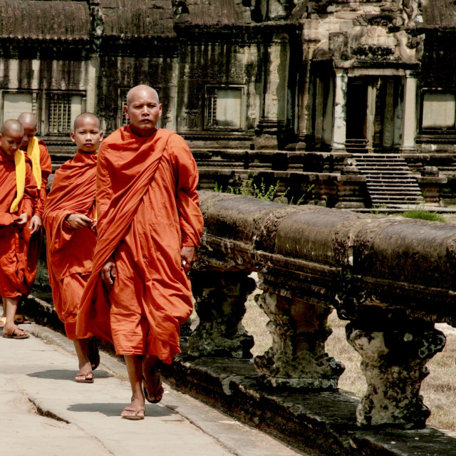 """""""Monks On The Move"""" stock image"""