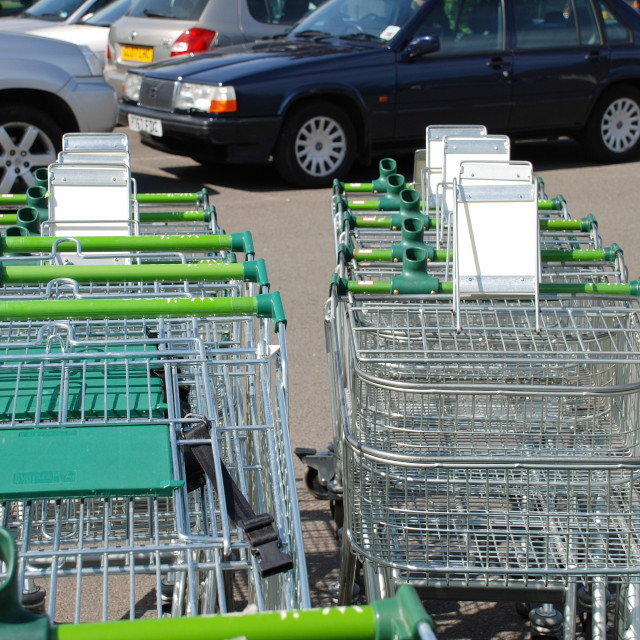 """Shopping trolleys, Waitrose"" stock image"