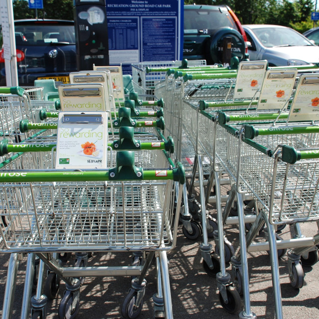 """Shopping trolleys, Kent"" stock image"