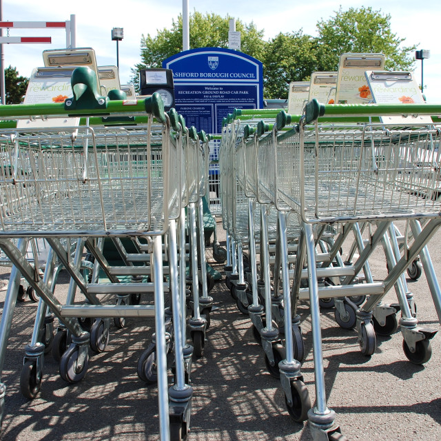 """Trolley park, Waitrose"" stock image"