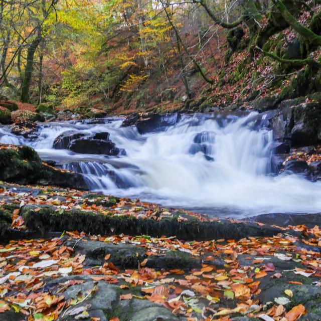"""""""Flowing River - Aberfeldy (Slow Shutter)"""" stock image"""