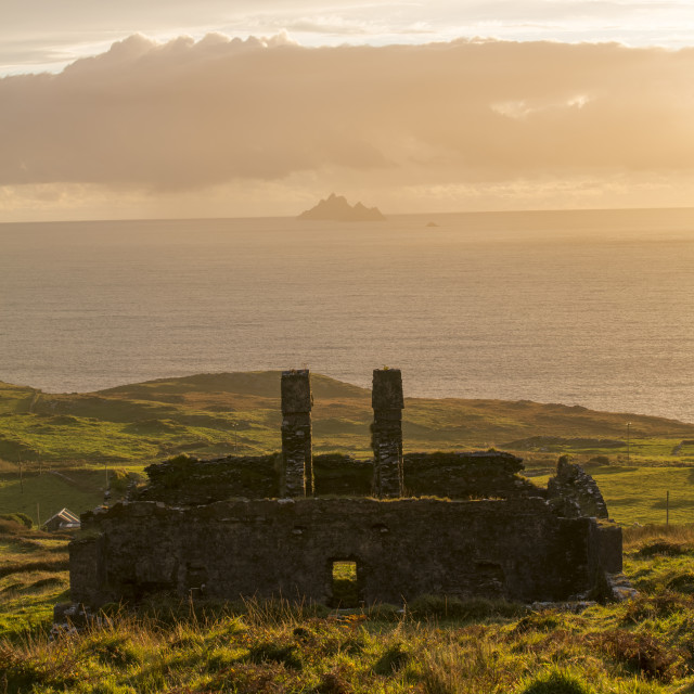 """Sunset view to Skellig Michael"" stock image"