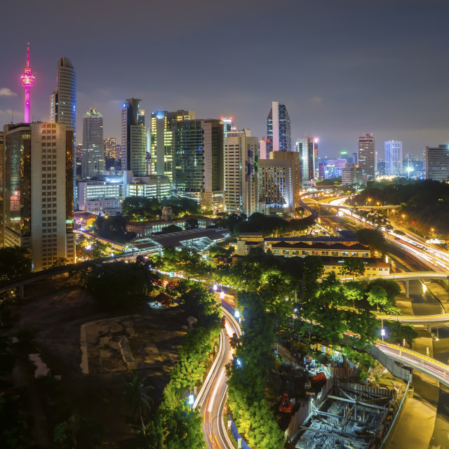 """Aerial view of beautiful night scene at Kuala Lumpur city"" stock image"