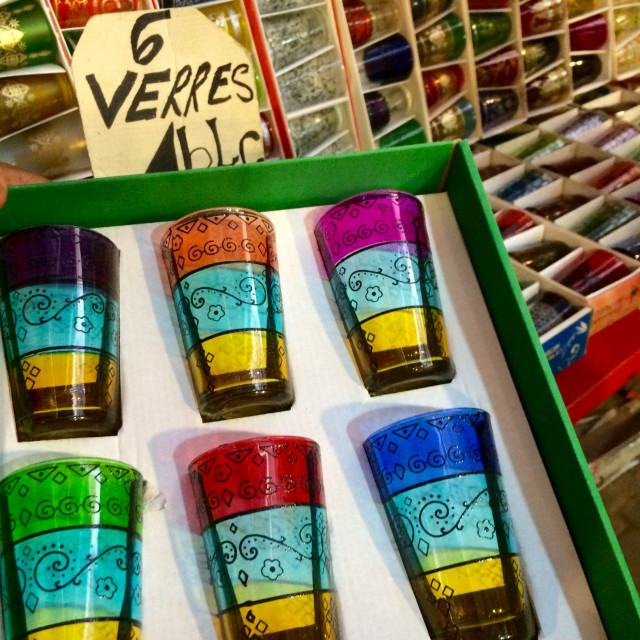 """Colourful glasses for sale, Marrakech"" stock image"