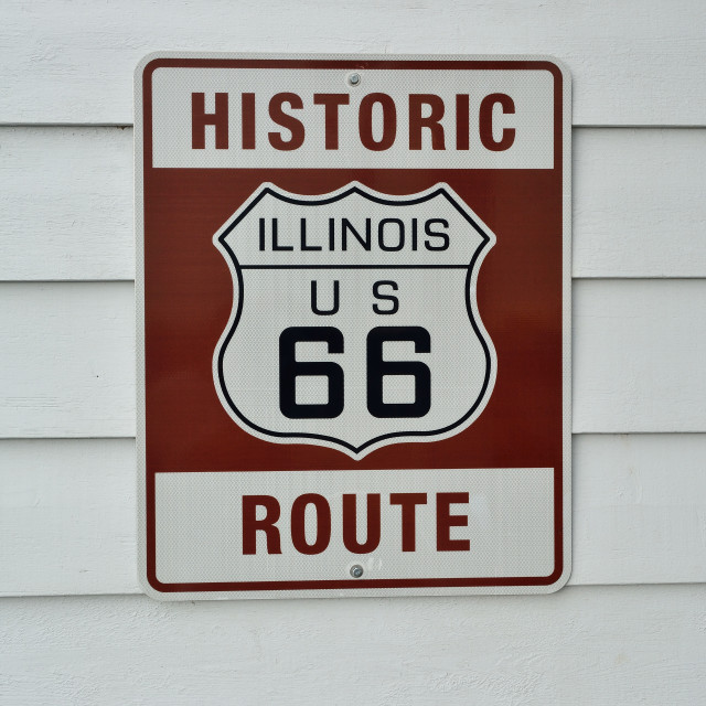 """Historic Illinois Route 66 brown sign."" stock image"