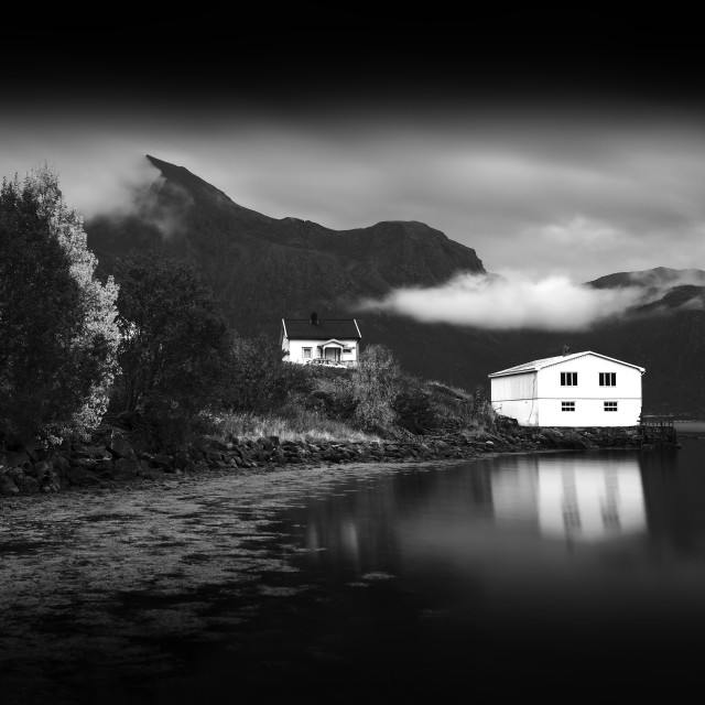 """""""Norway cabin with water reflections"""" stock image"""