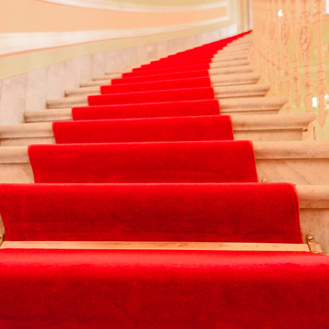 """""""Interior stairs with red carpet"""" stock image"""