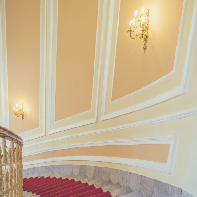 """""""Marble stairs with red carpet"""" stock image"""