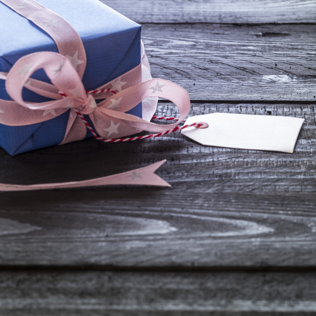 """Pink ribbon gift and white label"" stock image"