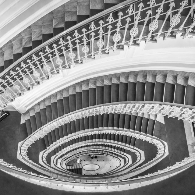 """""""Spiral stairs black and white"""" stock image"""