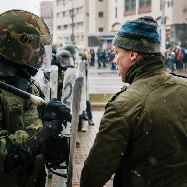 """""""Special police unit with shields against protesters in Minsk"""" stock image"""