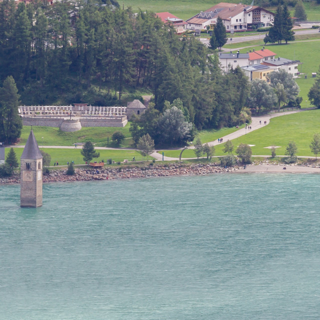 """""""Submerged tower of reschensee church deep in Resias Lake in Trentino-Alto valley"""" stock image"""
