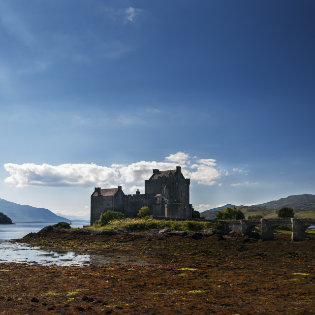 """""""View of the Eilean Donan Castle in the Highlands of Scotland, United Kingdom; Concept for travel in Scotland"""" stock image"""