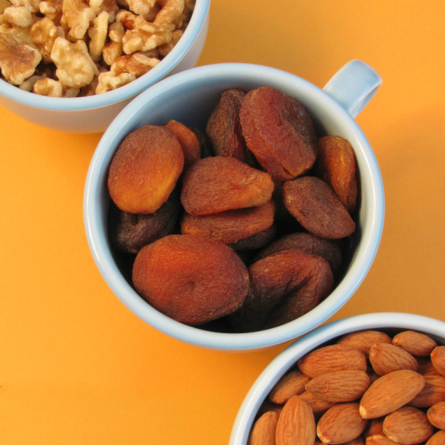 """""""Walnuts, roasted almonds and dried Turkish apricots"""" stock image"""