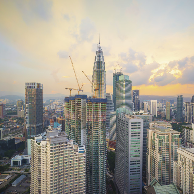 """Aerial view of beautiful cloudy sky at Kuala Lumpur city"" stock image"
