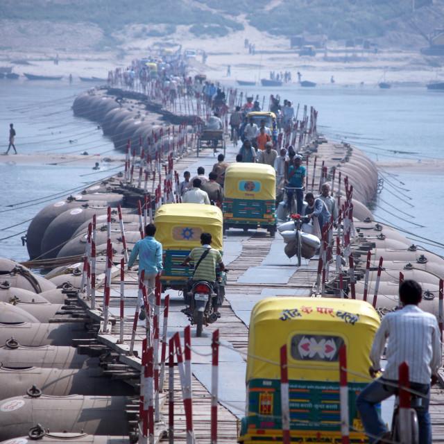 """Pontoon bridge over the River Ganges Varanasi India"" stock image"