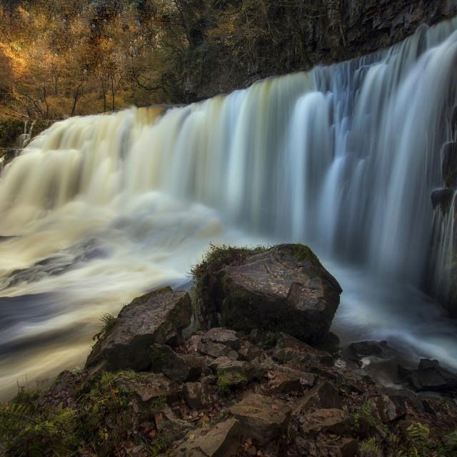 """""""Sgwd Isaf Clun-gwyn Falls"""" stock image"""