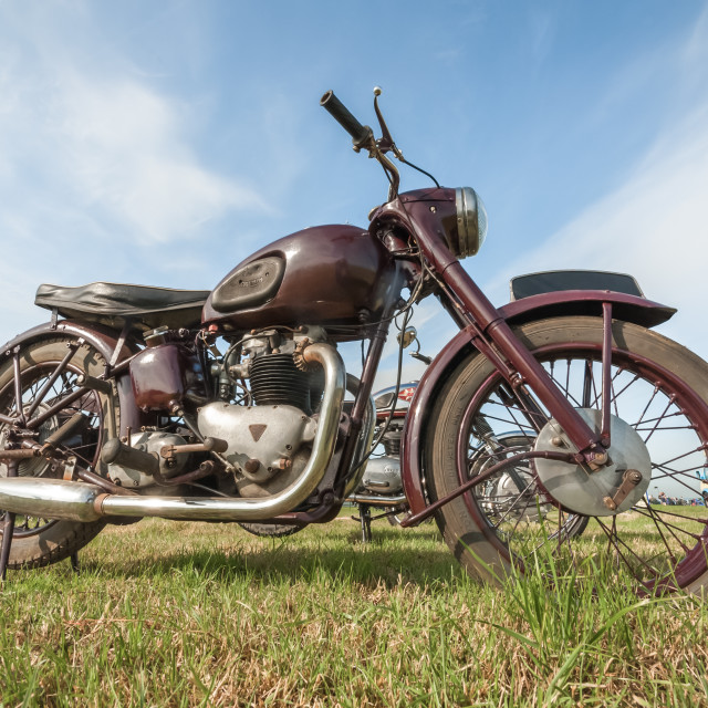 """Vintage Triumph motorcycle"" stock image"