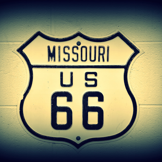 """""""Route 66 sign in Missouri."""" stock image"""