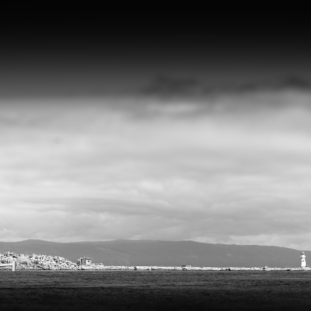 """""""Black and white lighthouse pier background"""" stock image"""