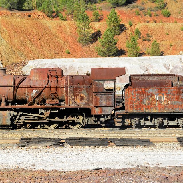 """Abandoned steam locomotive"" stock image"