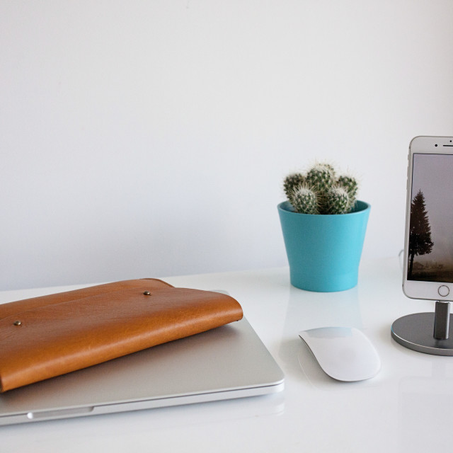 """Workspace with laptop, iphone and cactus"" stock image"