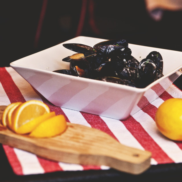 """Mussels in the plate"" stock image"