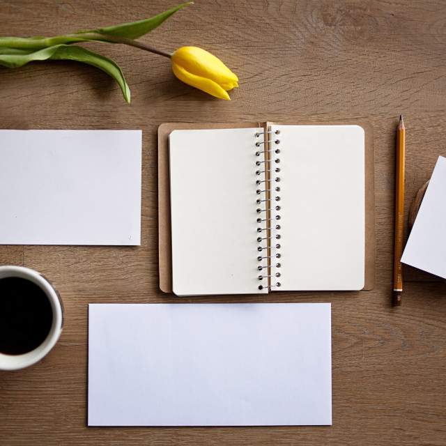 """Blank notebook and sheets of paper"" stock image"