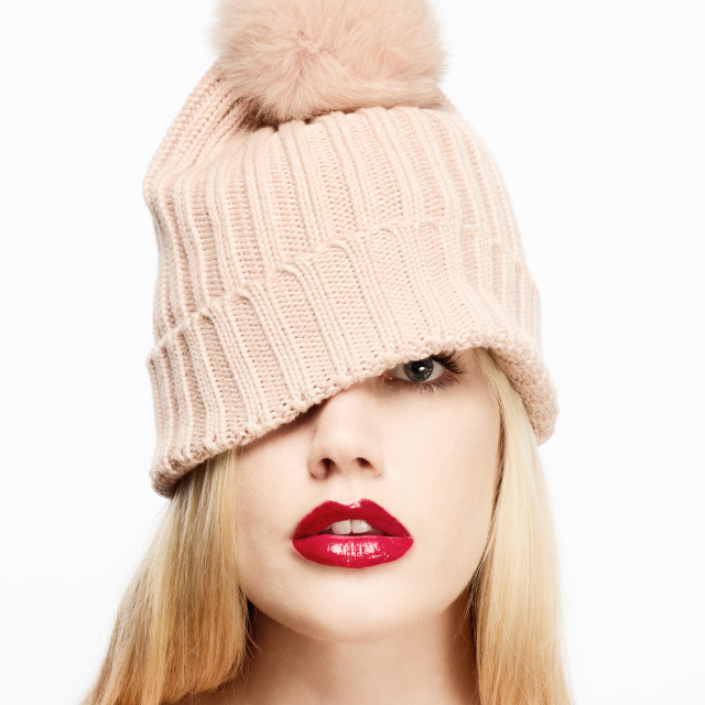 """Pretty Girl in bobble hat"" stock image"
