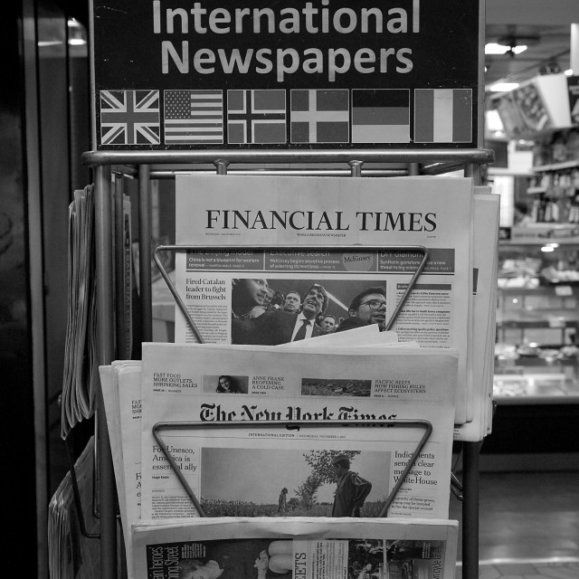 """NEWS PAPERS FOR SLE AT NEWS STAND"" stock image"