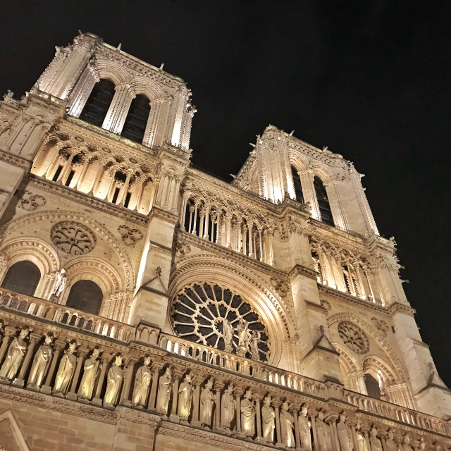 """Notre Dame at Night"" stock image"