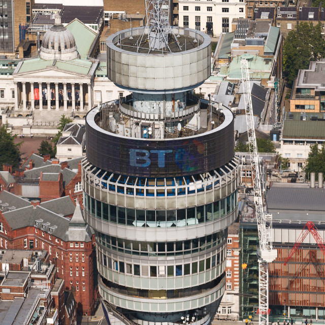 """""""Aerial view of the BT Tower in Fitzrovia, London #3"""" stock image"""