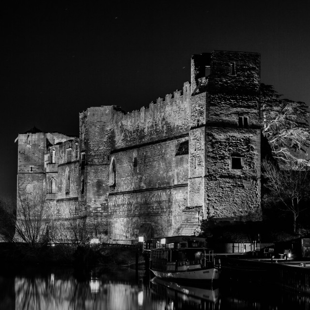 """CASTLE AT NIGHT"" stock image"