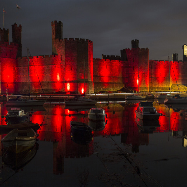 """Caernarfon Castle Reflection"" stock image"