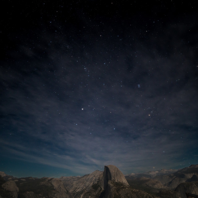 """Night Skies Over Half Dome"" stock image"